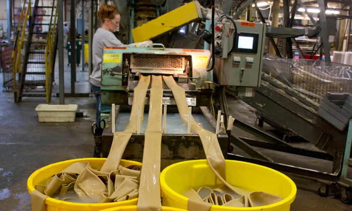 Image of the manufacturing process of synthetic rubber