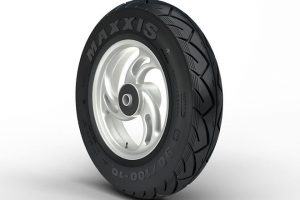 Image Showing A Rubber Tyre on Display in a white background