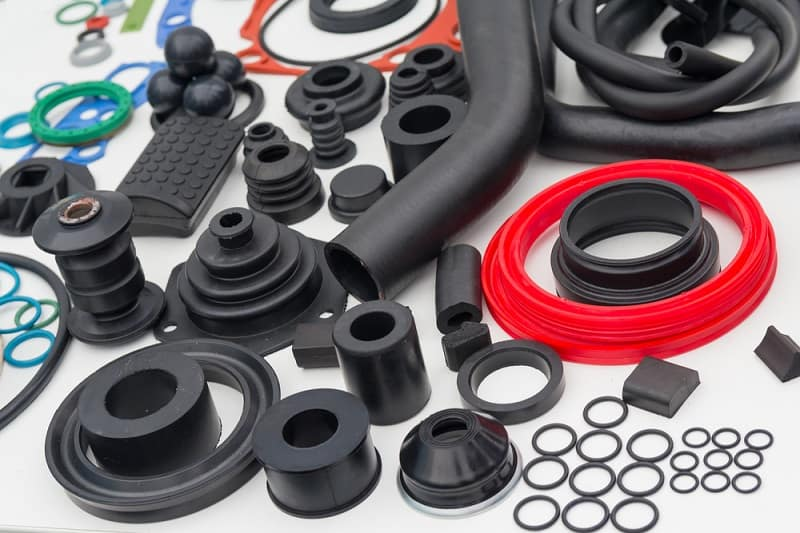 Image showing various rubber products displayed on the table