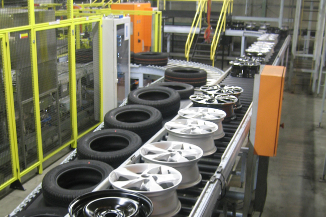 Image Showing Group of Tyres During Manufacturing Process