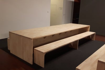 A Set Of Rubber Wood Table And Benches In A Canteen Room.
