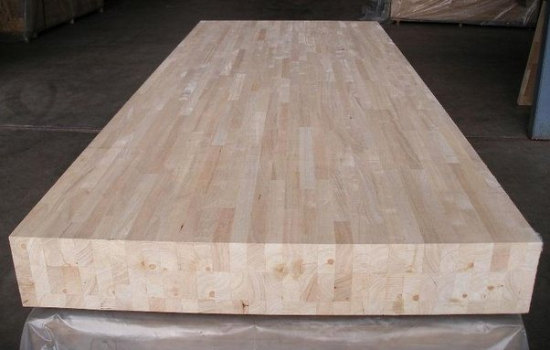 A Large Piece Of Rubber Wood Placed For Furniture Manufacturing Process.
